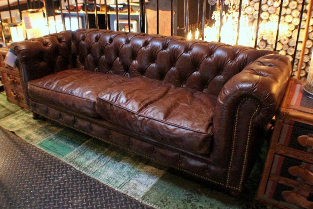 tufted small Sofa Top grain vintage brown leather beautiful 0