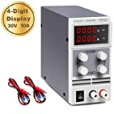wanptek DC Power Supply Variable 30V 10A 4-Digit LED Display [Upgraded Version] Precision Adjustable DC Bench Power Supply DC Regulated Power Supply with 2 Alligator Clip Leads (Color: 0-30v 0-10a)