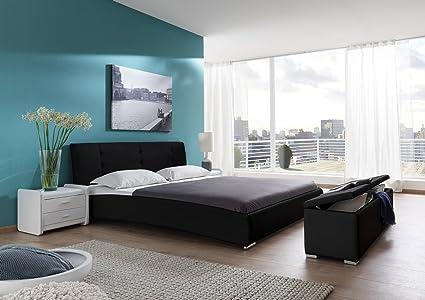 SAM® Design Polsterbett Bastia 160 x 200 cm in schwarz Kopfteil abgesteppt auch als Wasserbett verwendbar