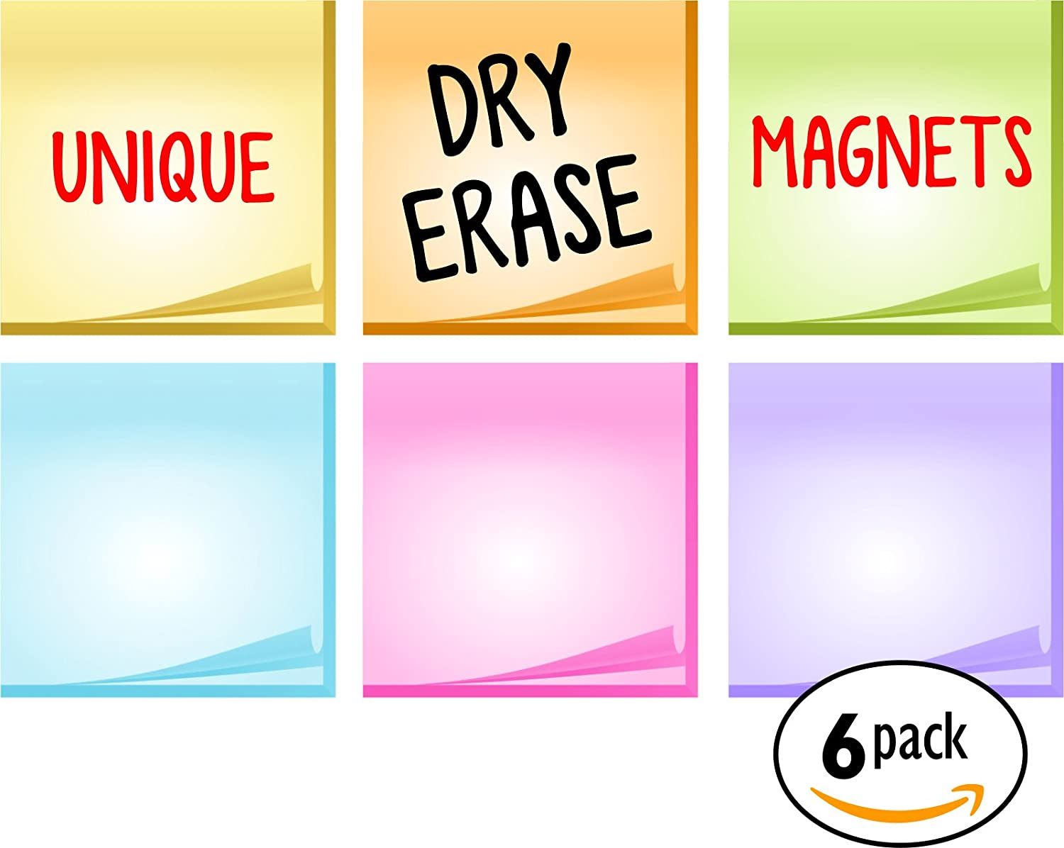 Bigtime Dry Erase Magnetic - Post It Notes Design for Refrigerator | Endless Uses | Use as Reward or Behavior Chart | To Do List or Daily Planner ( 6pc Set )