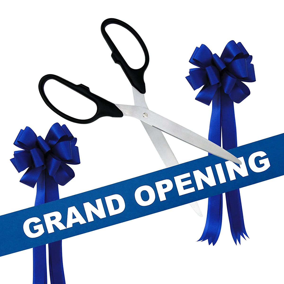 "Grand Opening Kit - 36"" Black/Silver Ceremonial Ribbon Cutting Scissors with 5 Yards of 6"" Royal Blue Grand Opening Ribbon and 2 Royal Blue Bows"