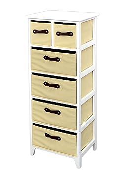 landhaus kommode schrank 105 cm h he wei beige badregal hochregal mit 6 k rben in braun us47. Black Bedroom Furniture Sets. Home Design Ideas
