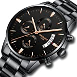 NIBOSI Men's Watches Sports Luxury Chronograph Waterproof Military Quartz Wristwatches for Men Rose Gold Hands Black&Rose Gold Color (Color: Qhmd, Tamaño: Medium)