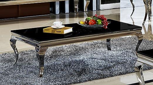 Couchtisch 130 x 70 x 42 Aura schwarz Wohnzimmer designer luxus Tisch Buro Edelstahl Glas Barock Chrom schwarzglas