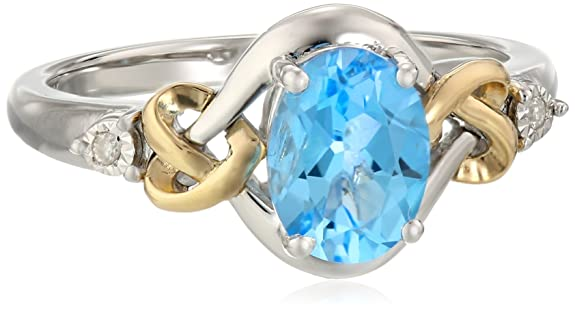 Sterling-Silver-and-14k-Yellow-Gold-Diamond-and-Swiss-Blue-Topaz-Love-Knot-Ring
