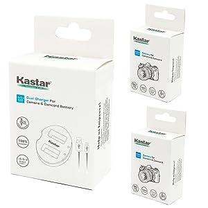 BATERÍA KASTAR (X2) Y CARGADOR DUAL USB PARA CANON LP-E10, LC-E10 y Canon EOS 1100D, EOS 1200D, EOS Rebel T3, EOS Rebel T5, EOS Kiss X50, cámara EOS Kiss X70 DSLR y empuñadura Canon LPE10