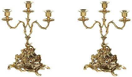 Virtus Galdos - Pareja de candelabros fabricados en bronce, 33 x 24 cm