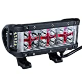 """DWVO LED light bar 8"""" 100W Spot Flood Combo Beam off Road Work Lights with Red Cross DRL for Truck, Car, ATV, SUV, Boat, Jeep, 2 Years Warranty"""