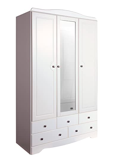 Steens Furniture Milford 3-Door 5-Drawer Mirrored Wardrobe, Wood, White