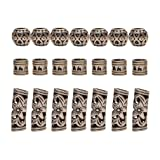 Teemico 30 Pieces Retro Tibet Silver Alloy Ribs Beads for Bracelet Jewelry Making Dreadlocks Tube Braiding Hair Decoration Accessories