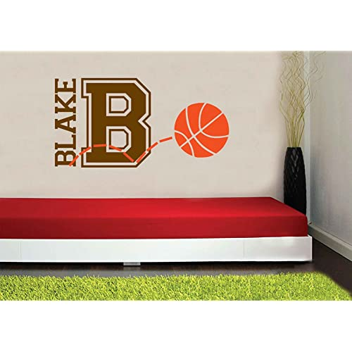 Personalized Monogram Kids Wall Decals - Boys Wall Decal- Name Vinyl Lettering - baby boy nursery wall decal Blake Basketball