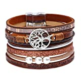 DESIMTION Bracelets for Teen Girls,Wrap Around Boho Buckle Stacking Multilayer Leather Wide Magnetic Layered Bracelet,Tree of Life Bracelets for Women Mom Teen Girls Grandma (Color: B-Tree of Life Brown)