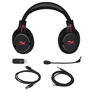 HyperX Cloud Flight - Wireless Gaming Headset, with Long Lasting Battery Up to 30 hours of Use, Detachable Noise Cancelling Microphone, Red LED Light, Bass, Comfortable Memory Foam, PS4, PC, PS4 Pro