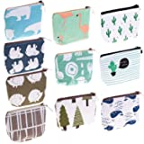 Small Coin Purse, Selizo 10 Pcs Small Canvas Purse Zipper Change Purse Small Zipper Pouch