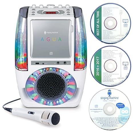 Singing Machine SML605W UA Système de karaoké Bluetooth avec lumières LED style discothèque Fontaines à eau Microphone avec fil et 3CD Blanc