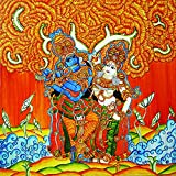 Retcomm Solutions Single Large Krishna With Gopis Kerala Mural Canvas Frame Painting (91.44 cm x 0.12 cm x 60.96 cm)