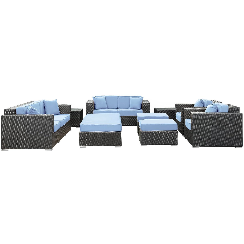 Modway Furniture EEI-647-EXP-LBU-SET Eclipse 9 Piece Sofa Set in Espresso Light Blue EclipseCollection