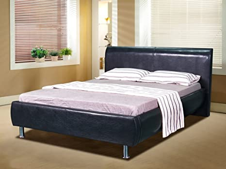 5ft King Faux Leather Milan Style Bed Frame with Padded Headboard in Black with Harper Mattress