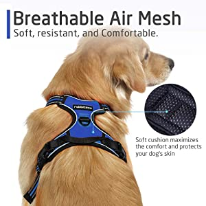 Rabbitgoo No Pull Dog Harness Pet Vest Harness with Handle Adjustable Dog Padded Harness Reflective Mesh Lightweight Dog Harness for Outdoor Training Walking (Blue, XL) (Color: Blue, Tamaño: Extra Large)