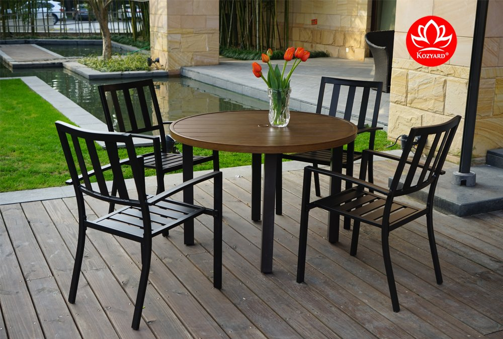 "Kozyard Belton 42"" Round Wood Like Metal Dining Table Set with Umbrella Hole for Patio, Back Yard, Pool Side etc. (Table Only)"