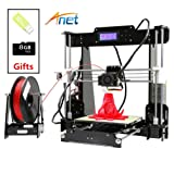 ANET A8 3D Printer, High Accuracy DIY 3D Printing Machine for Halloween, Christmas Gift -10m Filament & 8GB SD Card Included (Color: Black, Tamaño: 510*400*415mm)