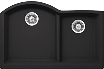 SCHOCK EDON175YU010 EDO Series CRISTALITE 70/30 Undermount Double Bowl Kitchen Sink, Onyx