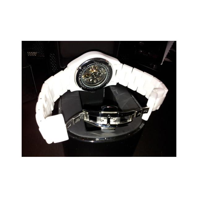 Emporio Armani Mens AR1415 Ceramic White Skeleton Dial Watch