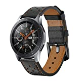 Kartice Compatible Galaxy Watch (46mm) Bands,Gear S3 Bands,22mm Leather Strap Replacement Buckle Strap Wrist Band for Samsung Galaxy Watch SM-R800 Smart Watch (46mm) Smartwatch.Black Brown (Color: Black Bown1)