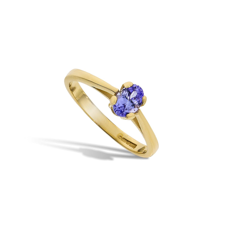 Funkelndes Feuer Edler 9 Karat (375) Gold Solitär Verlobung Damen – Ring mit Tansanit 0.60 Karat bestellen