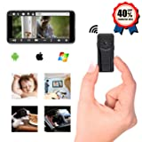Spy Camera WiFi Hidden Camera for Home Office Security, HD 1080P WiFi Nanny Cam with Motion Detection Recording, Night Vision Mini Spy Camera with Clip Design, fit Indoor Outdoor Using Bo (Color: Black)