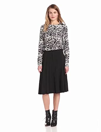 10 Crosby Derek Lam Women's Abstract Print On Stretch Long Sleeve Blouse, Black, 2