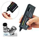 Digital Accuracy Diamond Tester,Premium Portable Selector Detector Gemstone Jewelry Gold Testing Tool with LED Precision Indicator (Color: Black*1+Microscope*1)