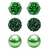 JewelrieShop Cubic Zirconia Rhinestones Crystal Ball Faux Pearl Birthstone Stud Earrings for Women Girls - Hypoallergenic Stainless Steel Earrings - 3 Pairs - Green (May.) (Color: 5) May. - Green, Tamaño: 6mm)