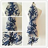 3D beaded flower sequence lace applique motif sewing bridal wedding 3in1 20cmx72cm (Navy) (Color: Navy)