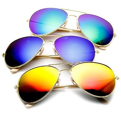 Premium Full Mirrored Aviator Sunglasses w/ Flash Mirror Lens
