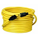 Coleman Cable 09208 NEMA L5-20P to L5-20R 12/3 SJTW 300-Volt Extension Cord, 50-Foot, Yellow (Color: Yellow)