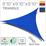 SUNNY GUARD 9'10'' x 9'10'' x 9'10'' Blue Triangle Sun Shade Sail UV Block for Outdoor Patio Garden