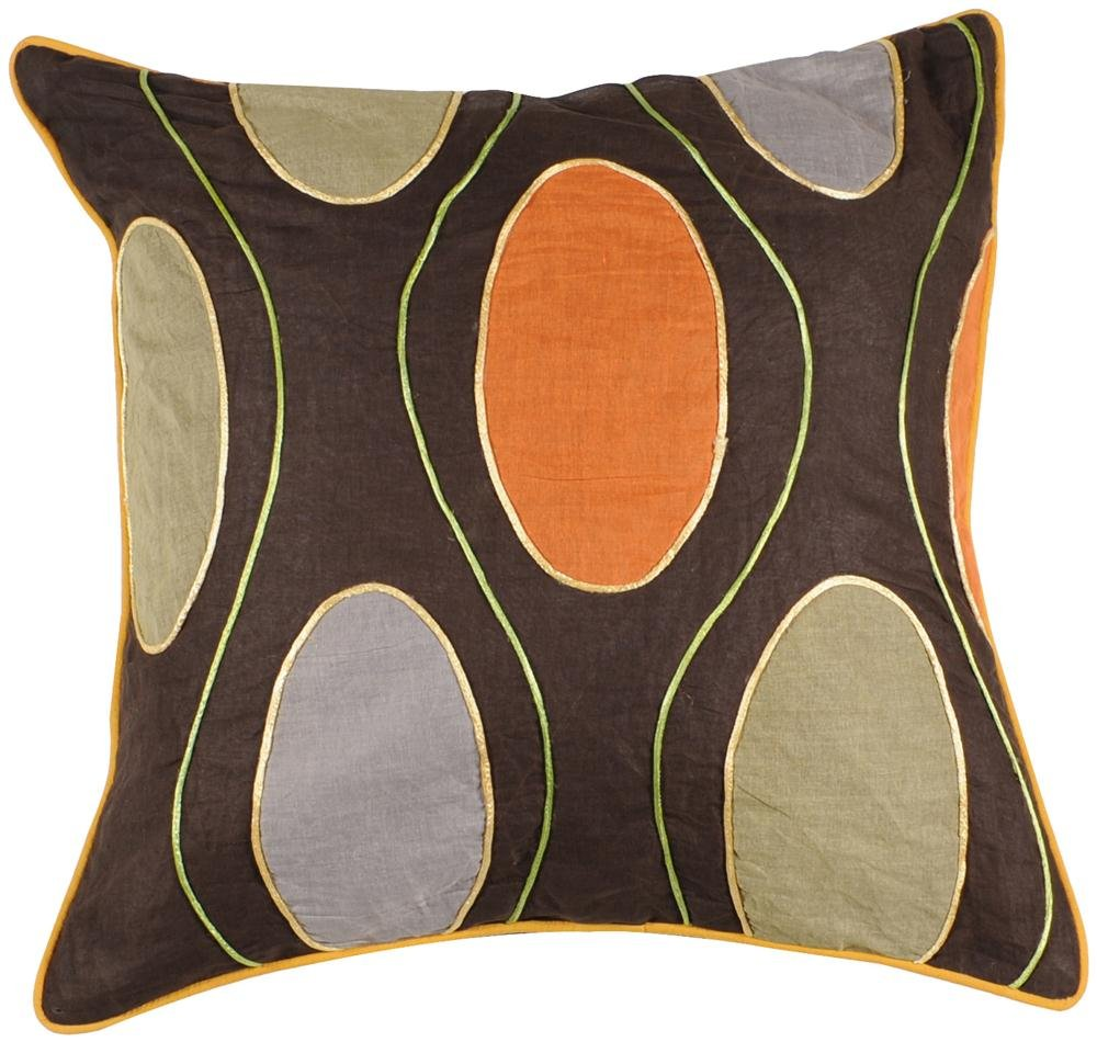 Surya P-0188 Machine Made 100% Cotton Chocolate 18 x 18 Decorative Pillow