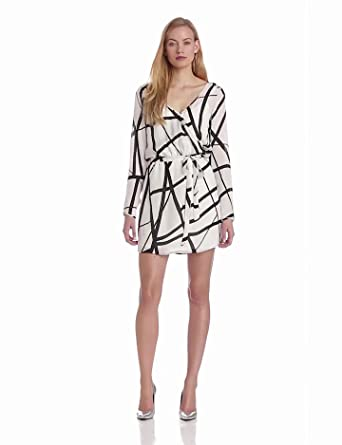 Michael Stars Women's Florence Silk Printed Long Sleeve Wrap Dress, Ivory, X-Small