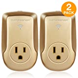 TOPGREENER Smart Wi-Fi Powerful Plug with Energy Monitoring, Smart Outlet, 15A, 1800W, No Hub Required, Compatible with Alexa and Google Assistant, Gold, 2-Pack (Color: Gold, Tamaño: Heavy Duty Wi-Fi Plug, 2 Pack)