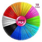 Tecboss 3D Pen Filament, Upgraded 3D Printer Filament Refills, 1.75mm PLA Filament Pack of 10, High-Precision 3D Printing Filament, Each Color 16 Feet (Color: 10 Color, Tamaño: 10 Pack)