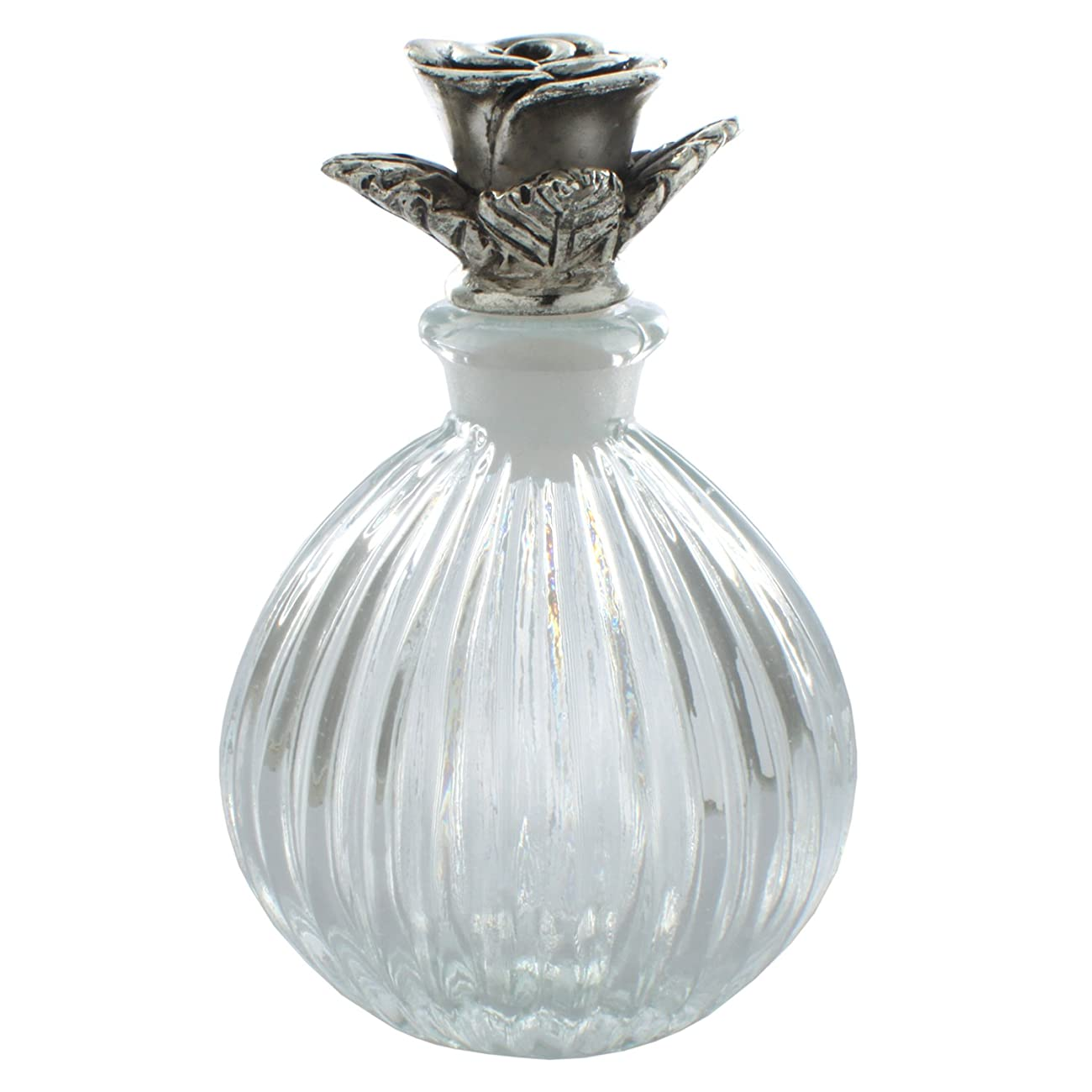 Antiques Glass Perfume Bottles Empty Refillable 6ML Silver Plated Rose 0