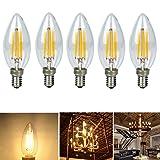 5-Pack 4W LED filament bulb E14 Base Edison Light Bulb C35 Vintage Edison Bulb Candle Light Soft Warm White 3000K 450LM (45 Watt Equivalent) AC 110V (Color: Warm white, Tamaño: 100*36*36 mm)