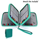 BTSKY Zippered Pencil Case--Canvas 72 Slots Handy Pencil Holders for for Prismacolor Watercolor Pencils, Crayola Colored Pencils, Marco Pencils (Green) (Color: Green)