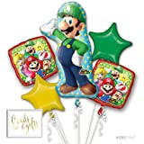 Andaz Press Balloon Bouquet Party Kit with Gold Cards & Gifts Sign, Mario Brothers Luigi Birthday Foil Mylar Balloon Decorations, 1-Set (Color: Mario Brothers Luigi)