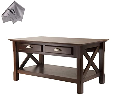 Xola Coffee Table with 2 Drawers and With Chanasya Polish Cloth
