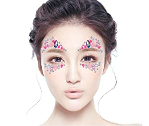 0eaaba5cf9 DaLin 6 Sets Mermaid Face Gems Rave Festival Face Jewels Stick On ...