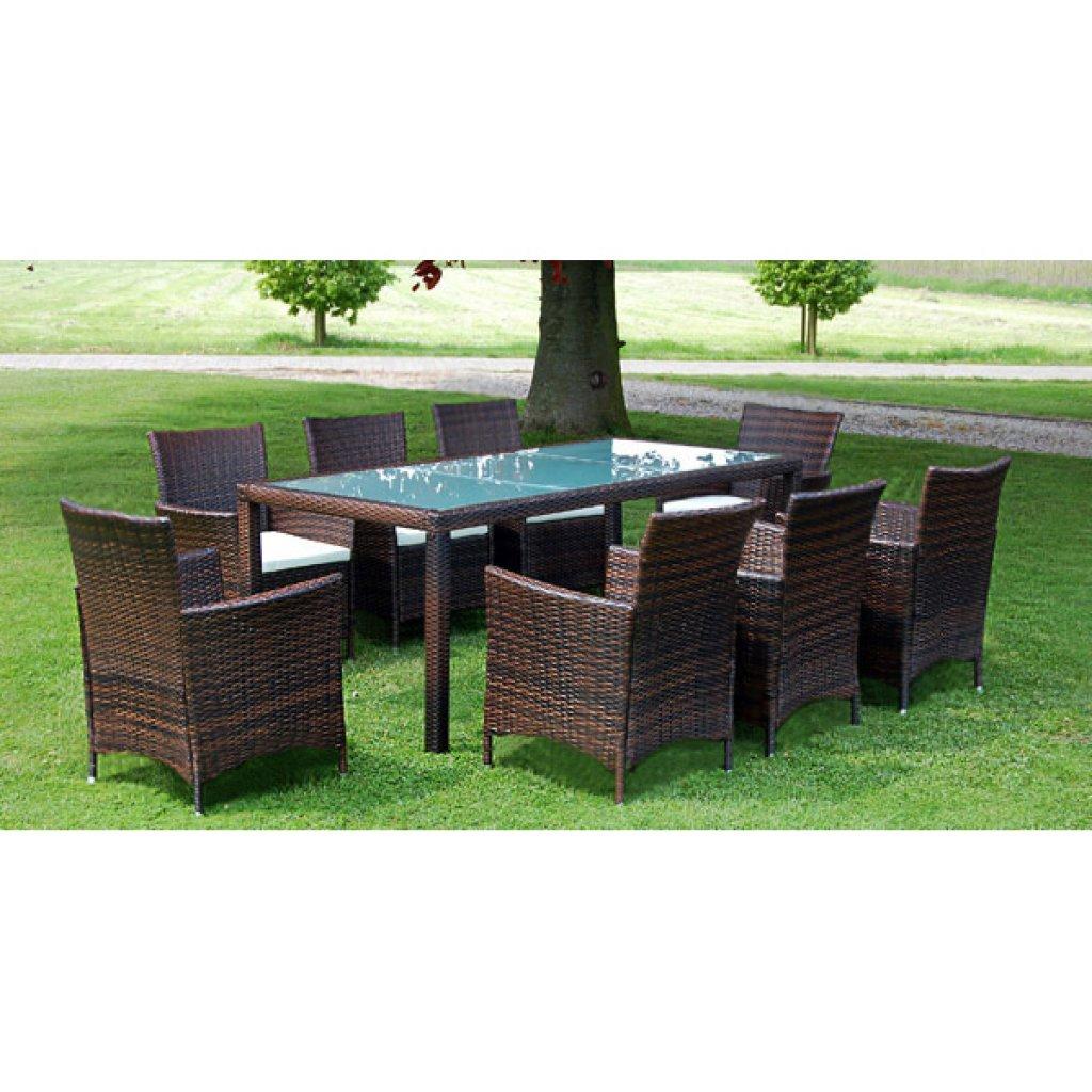 vidaXL Poly Rattan Gartenmöbel Essgruppe Sitzgruppe Gartenset Braun 1+8 günstig online kaufen