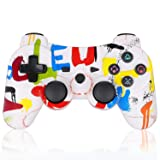 PS3 Controller Wireless Double Shock Gamepad for Playstation 3, Sixaxis Wireless PS3 Controller with Charging Cable,Compatible with Playstation 3 (Graffiti/Colorful) (Color: red)