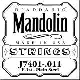 D'Addario J7401Plain Steel Mandolin Single String, First String, .011